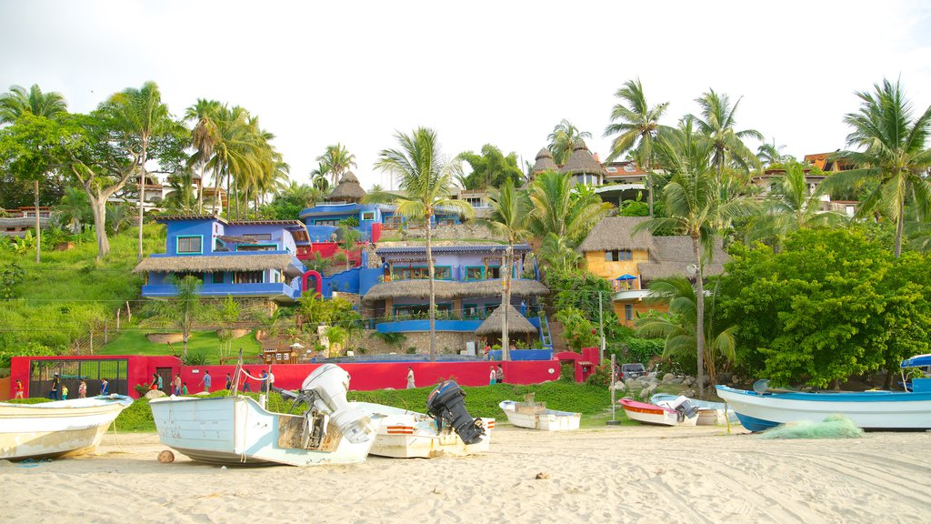 Sayulita featuring boating, a beach and a coastal town