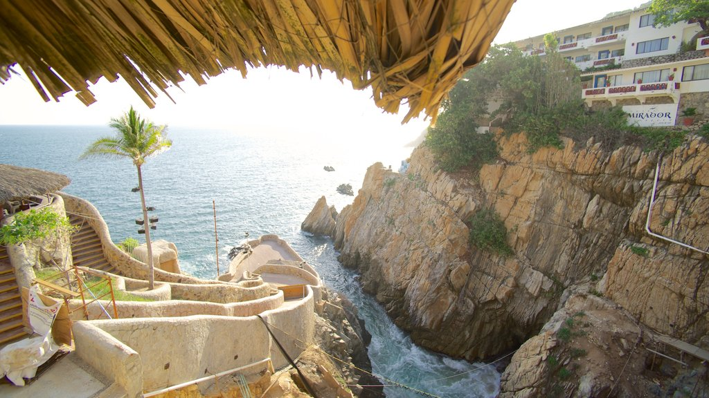 La Quebrada Cliffs featuring views, a gorge or canyon and rugged coastline