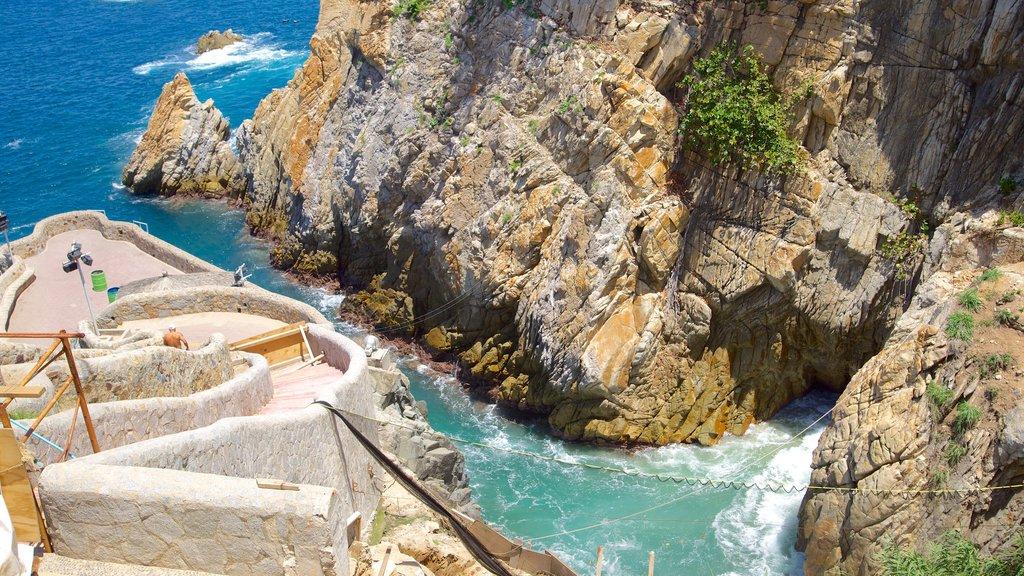 La Quebrada Cliffs showing views, rocky coastline and a gorge or canyon