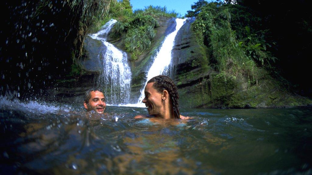 Granada que incluye natación y un lago o abrevadero y también una pareja
