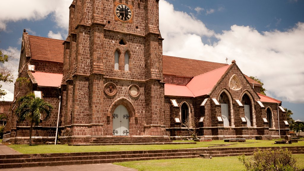Basseterre which includes a church or cathedral and heritage elements