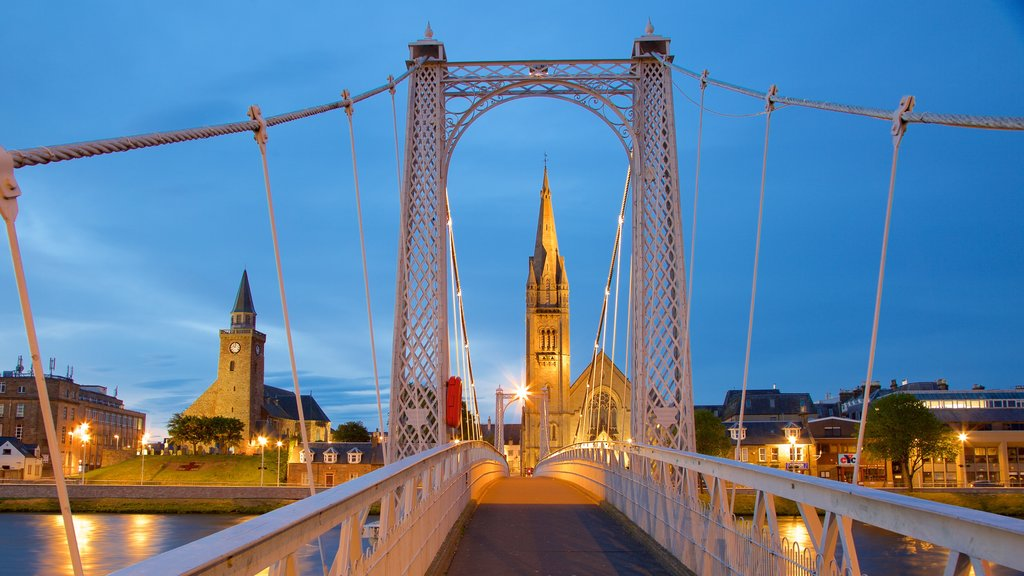 Inverness showing a bridge, heritage architecture and night scenes