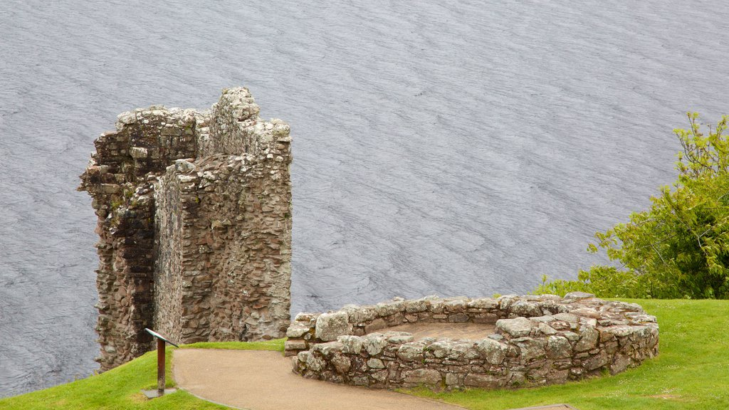 Urquhart Castle featuring a ruin and a lake or waterhole