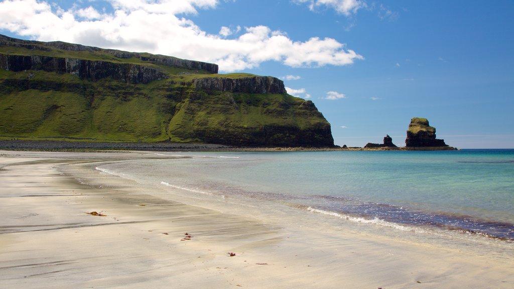 Isle of Skye featuring rugged coastline and a beach