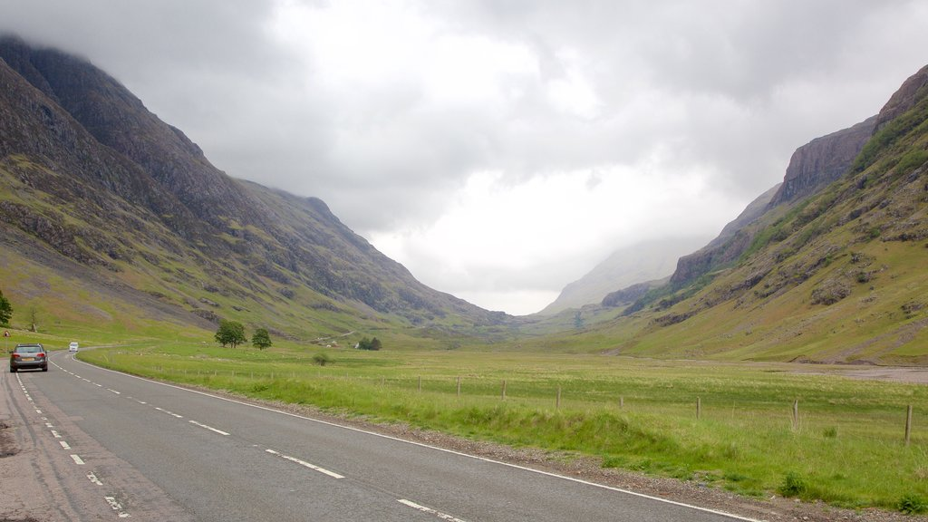 Glencoe which includes mountains and tranquil scenes