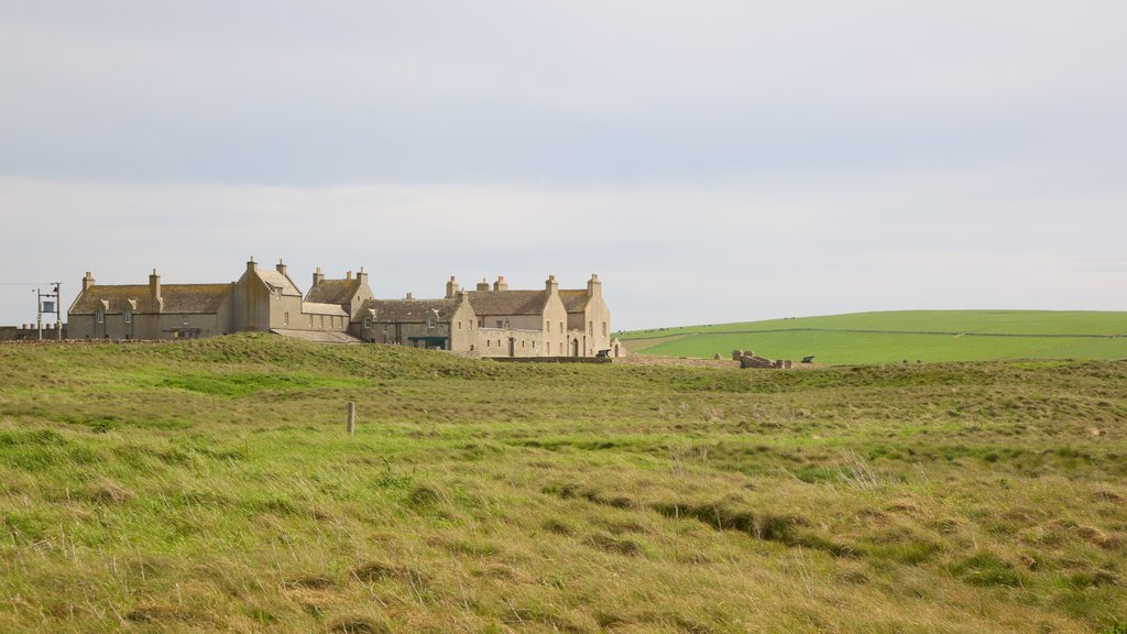 Skara Brae which includes a small town or village, tranquil scenes and heritage elements