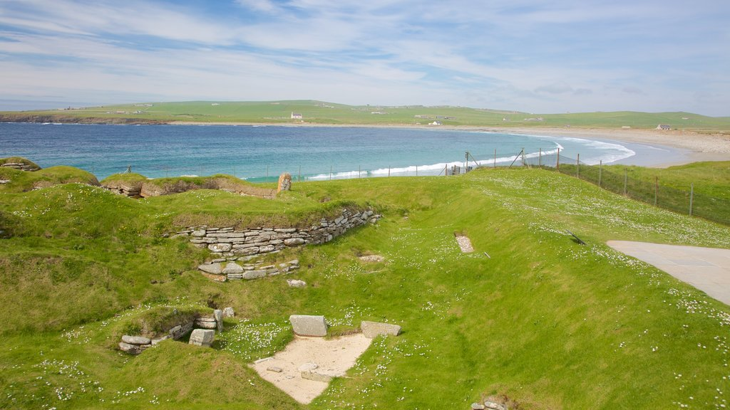 Skara Brae showing general coastal views, tranquil scenes and a sandy beach