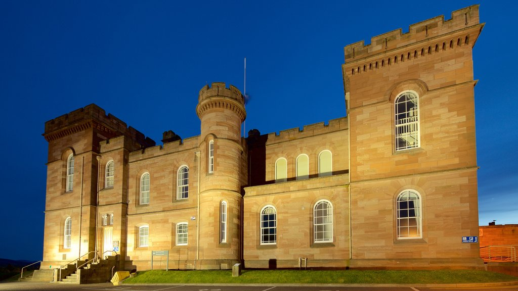 Inverness Castle featuring a castle, heritage architecture and night scenes