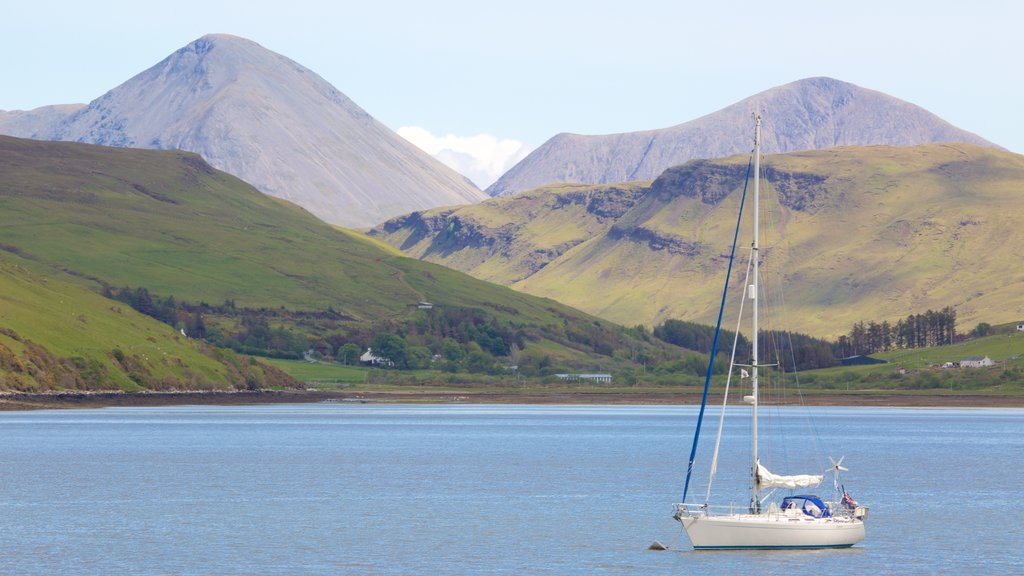 Talisker Distillery showing sailing, tranquil scenes and boating