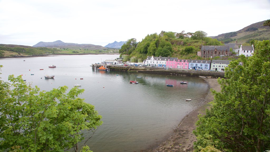 Portree Harbour featuring boating, a bay or harbor and a lake or waterhole