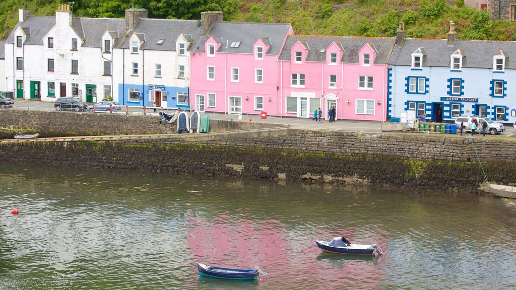 Portree Harbour which includes a coastal town, boating and a bay or harbor