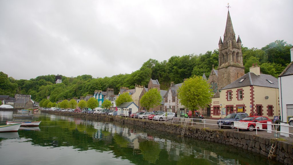 Isle of Mull which includes a church or cathedral, heritage elements and a bay or harbor