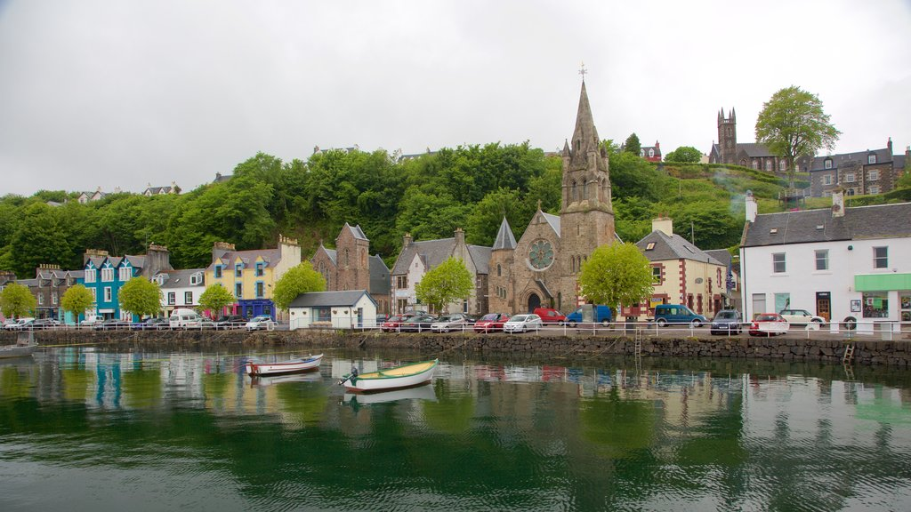 Isle of Mull which includes a church or cathedral, a coastal town and a bay or harbor