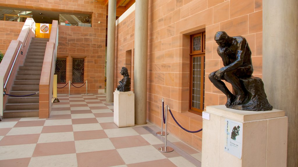 Burrell Collection showing heritage elements, art and a statue or sculpture