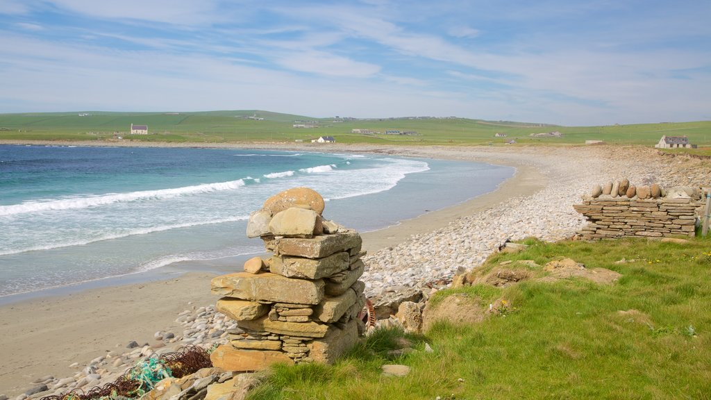 Bay of Skaill which includes landscape views, a beach and general coastal views