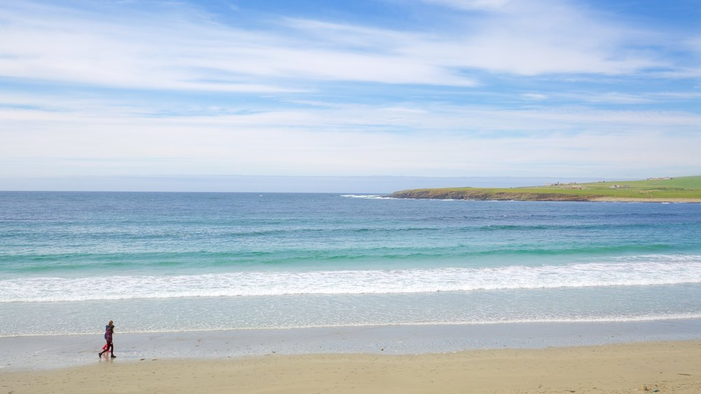 Stromness featuring a bay or harbor, a sandy beach and tranquil scenes
