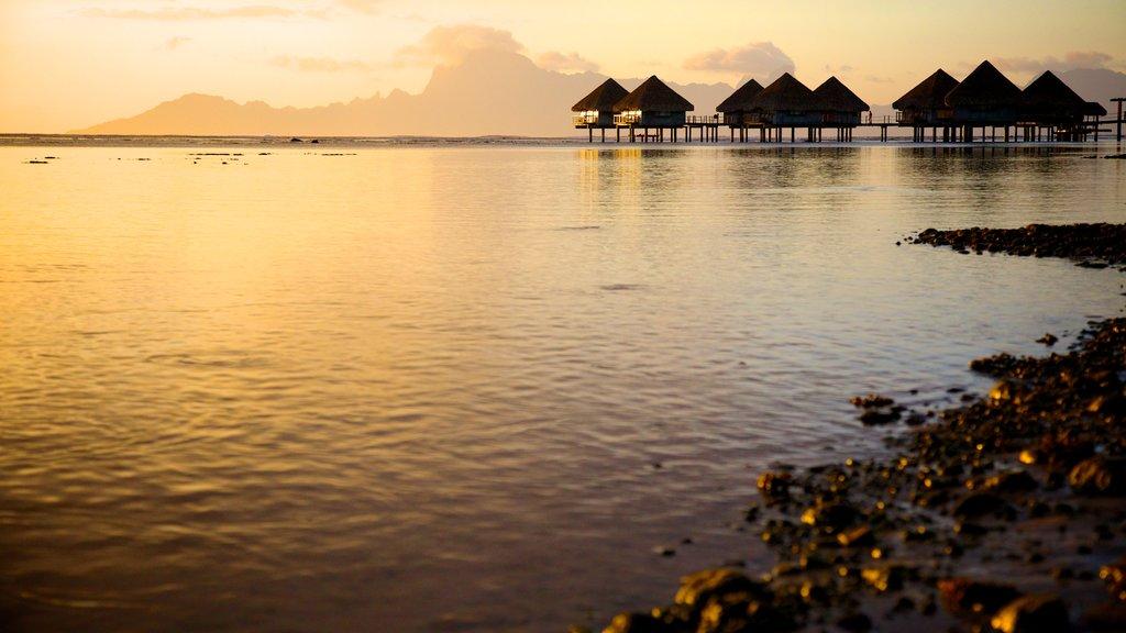 Polinesia Francesa ofreciendo vistas generales de la costa, una playa de guijarros y una puesta de sol