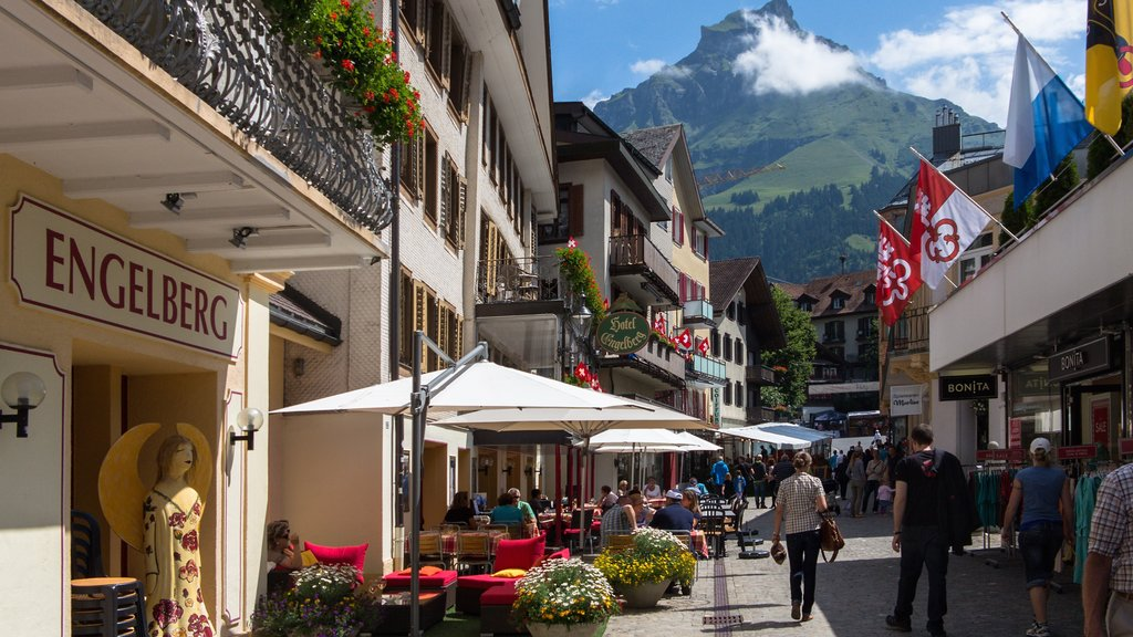Engelberg which includes street scenes, cafe scenes and dining out