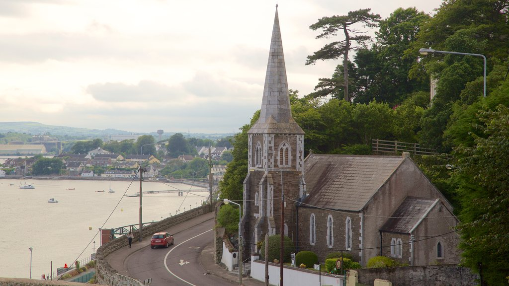 Cobh which includes heritage architecture, a lake or waterhole and a church or cathedral