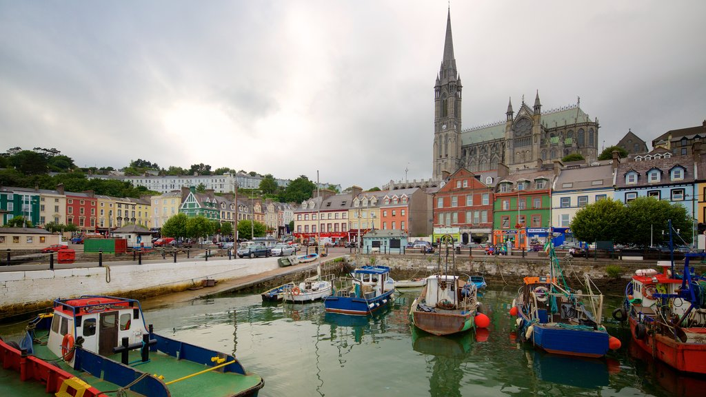 Cobh showing religious aspects, a coastal town and a marina