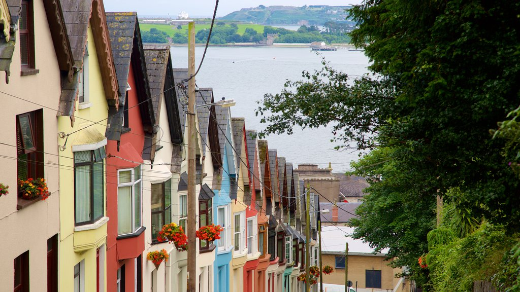 Cobh which includes a small town or village, a house and a lake or waterhole