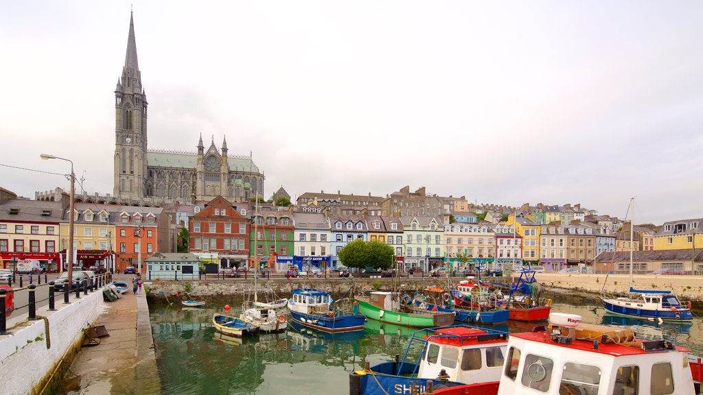Cobh showing a church or cathedral, a small town or village and heritage elements