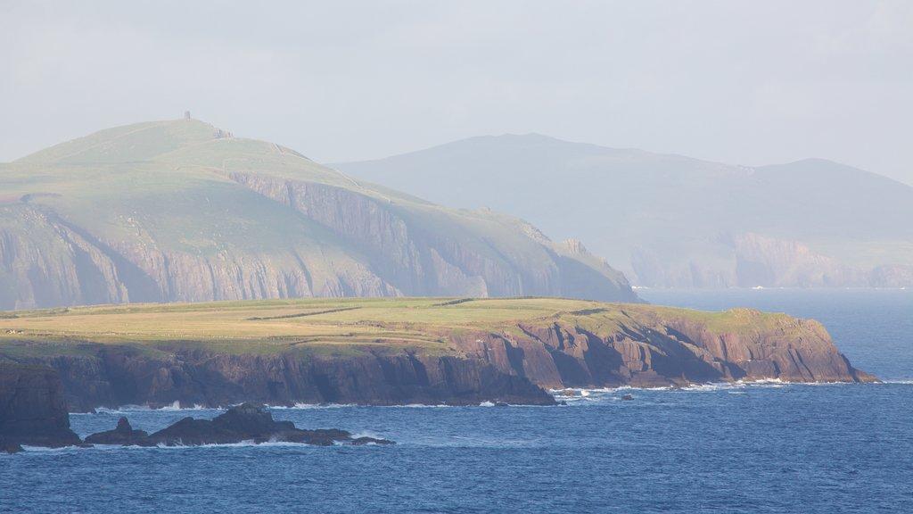 Dingle showing landscape views, mist or fog and rocky coastline