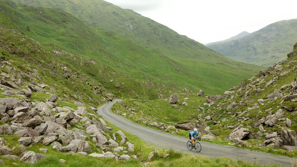 Glencar which includes tranquil scenes, mountains and road cycling