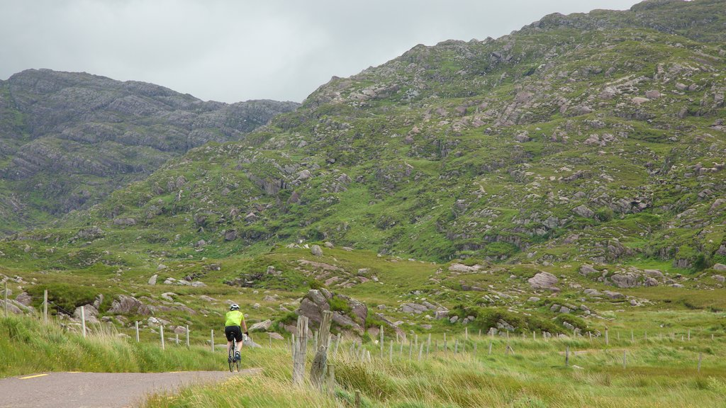 Glencar which includes road cycling, a river or creek and tranquil scenes