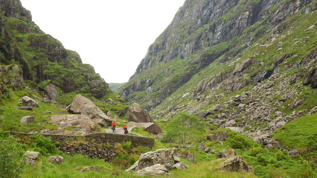 MacGillycuddy\'s Reeks featuring a gorge or canyon and tranquil scenes as well as a couple