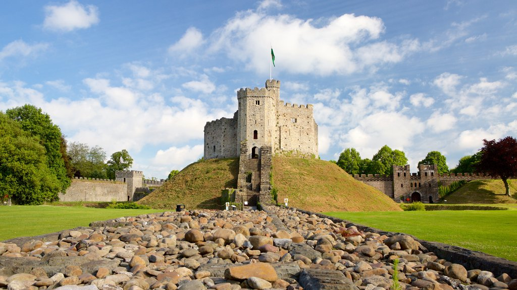 Cardiff Castle which includes landscape views, heritage architecture and chateau or palace