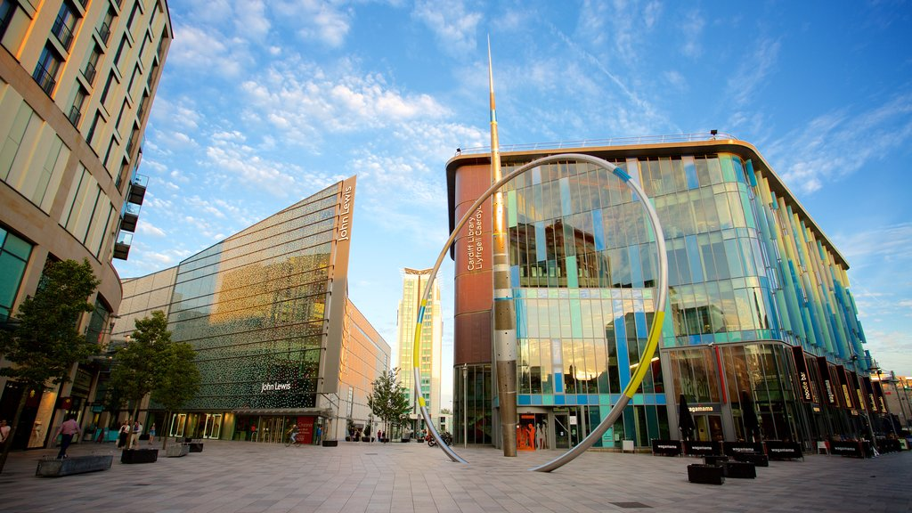 Cardiff featuring a square or plaza, a city and modern architecture
