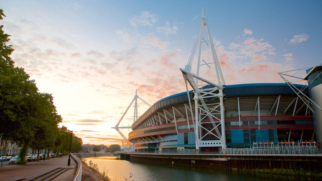 Cardiff which includes modern architecture, a city and a river or creek