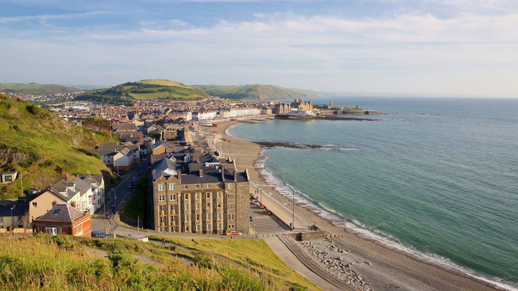 Aberystwyth featuring a city, landscape views and a sandy beach