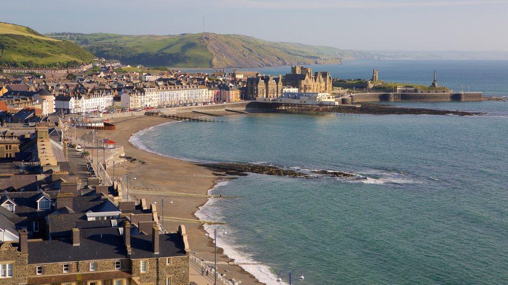 Aberystwyth featuring a coastal town, a beach and a city