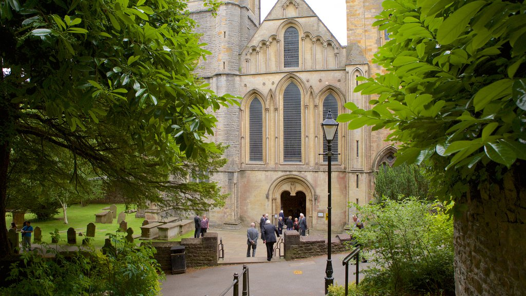 Llandaff Cathedral featuring religious elements, a church or cathedral and heritage architecture