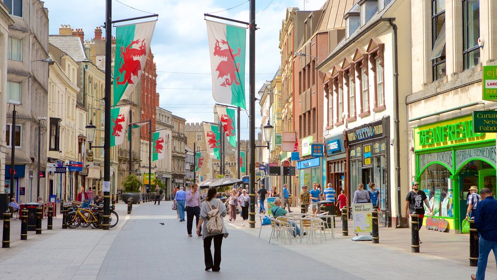 Cardiff which includes street scenes, shopping and a city
