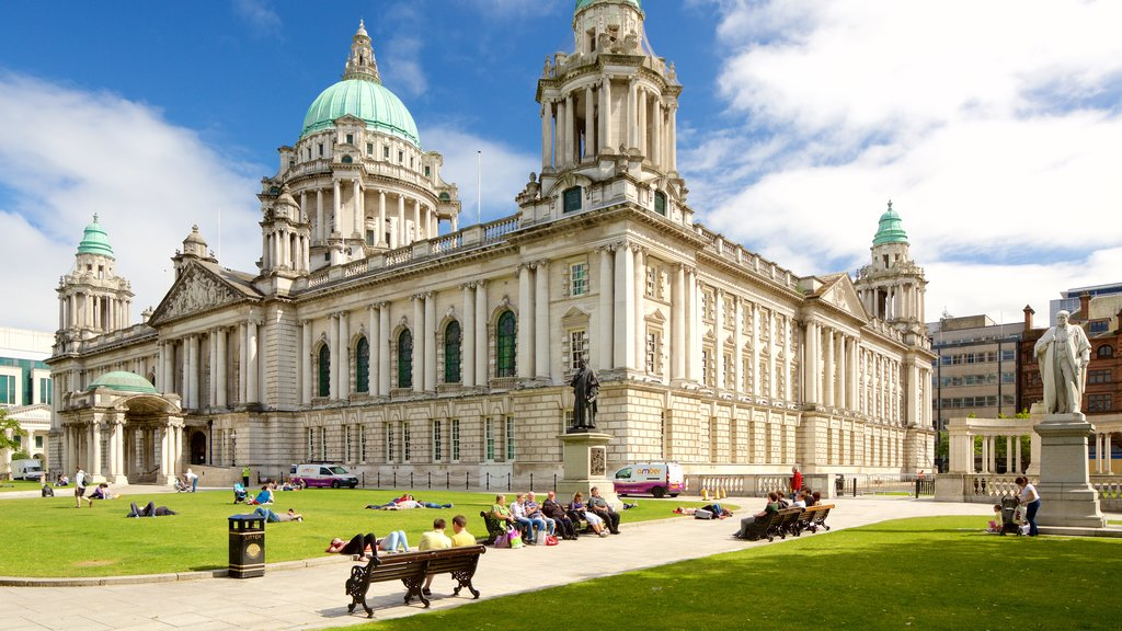 Belfast City Hall which includes heritage architecture, a park and a castle