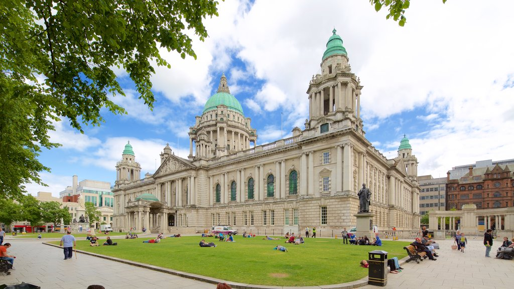 Belfast City Hall which includes heritage architecture, a garden and chateau or palace