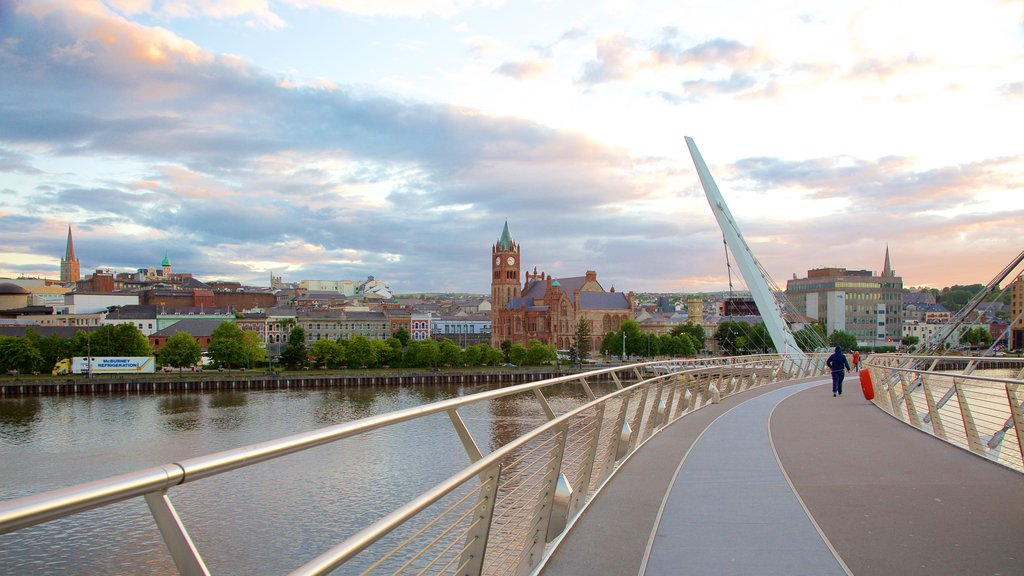 Peace Bridge showing a river or creek, modern architecture and a city