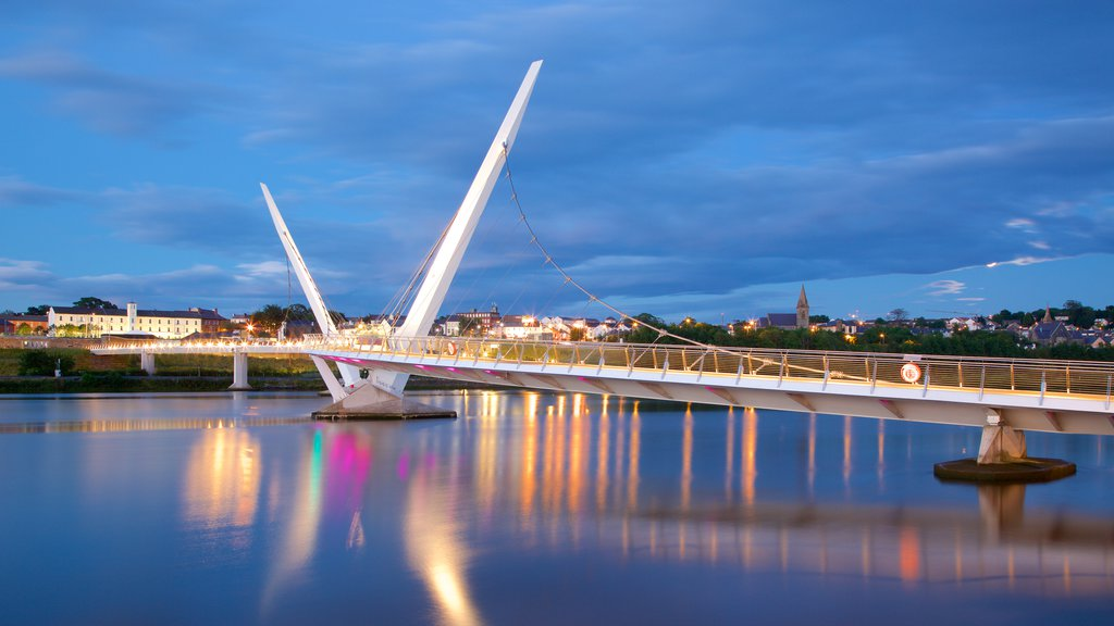 Peace Bridge featuring modern architecture, a city and a river or creek