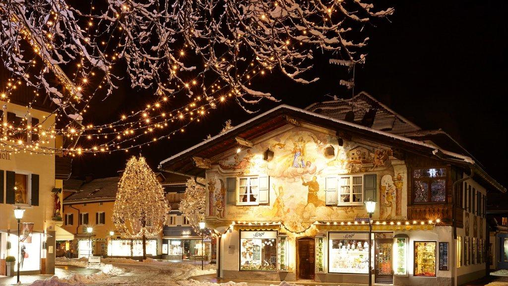 Garmisch-Partenkirchen featuring night scenes and snow