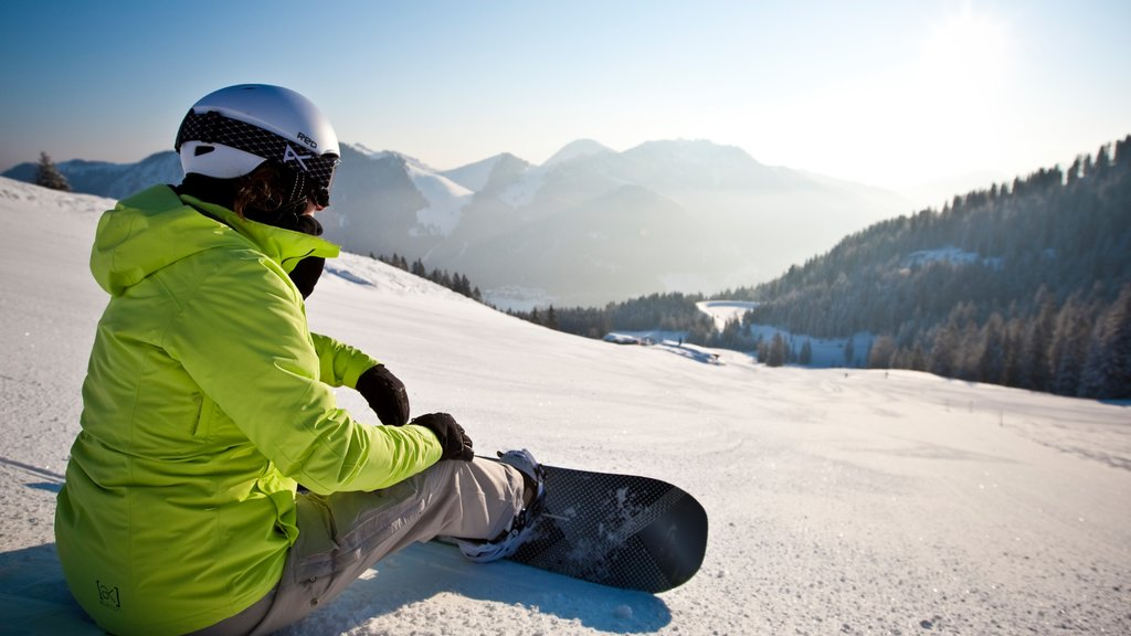 Spitzingsee showing snow and snow boarding as well as an individual femail