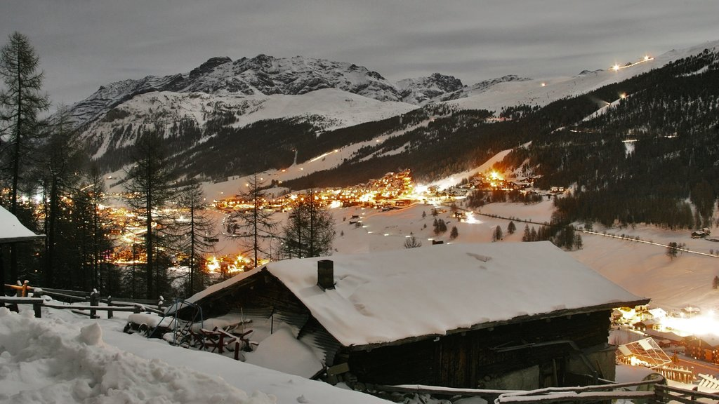 Livigno featuring mountains, landscape views and night scenes