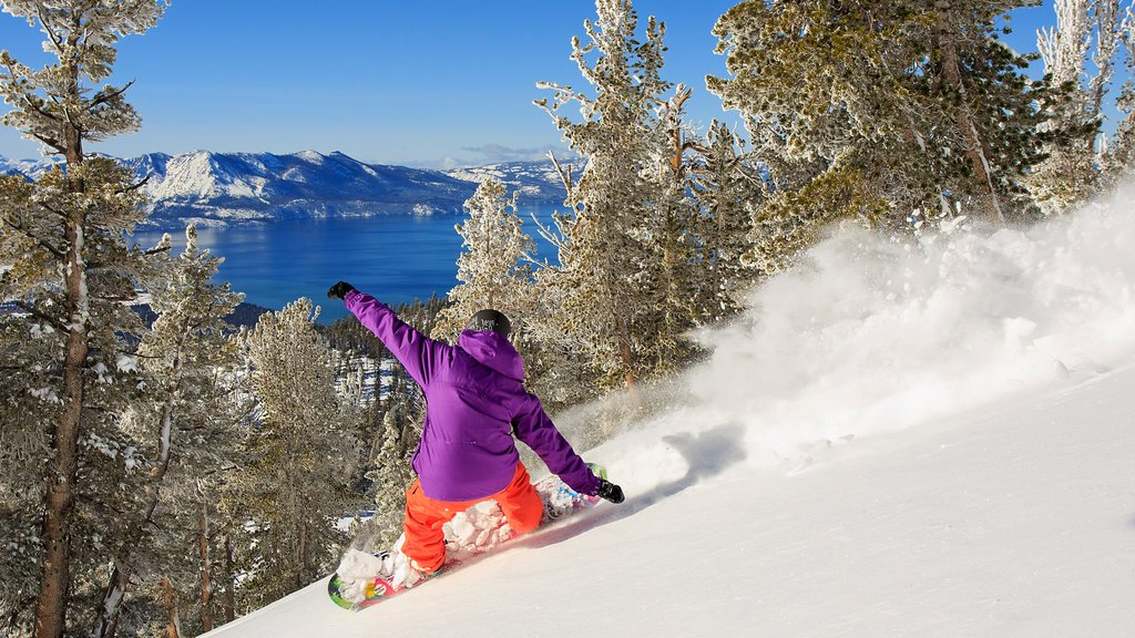 Heavenly Ski Resort which includes snow boarding, snow and landscape views