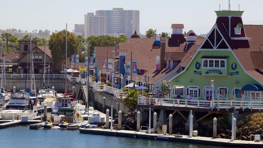 Long Beach which includes general coastal views, a marina and a coastal town