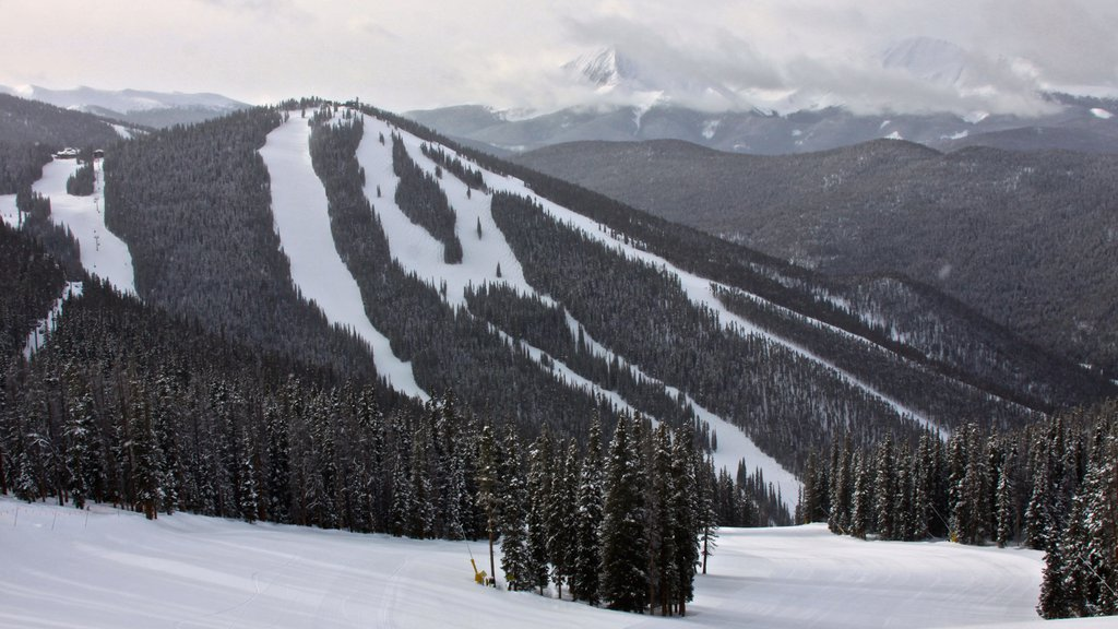 Keystone Ski Resort which includes landscape views, snow and forest scenes