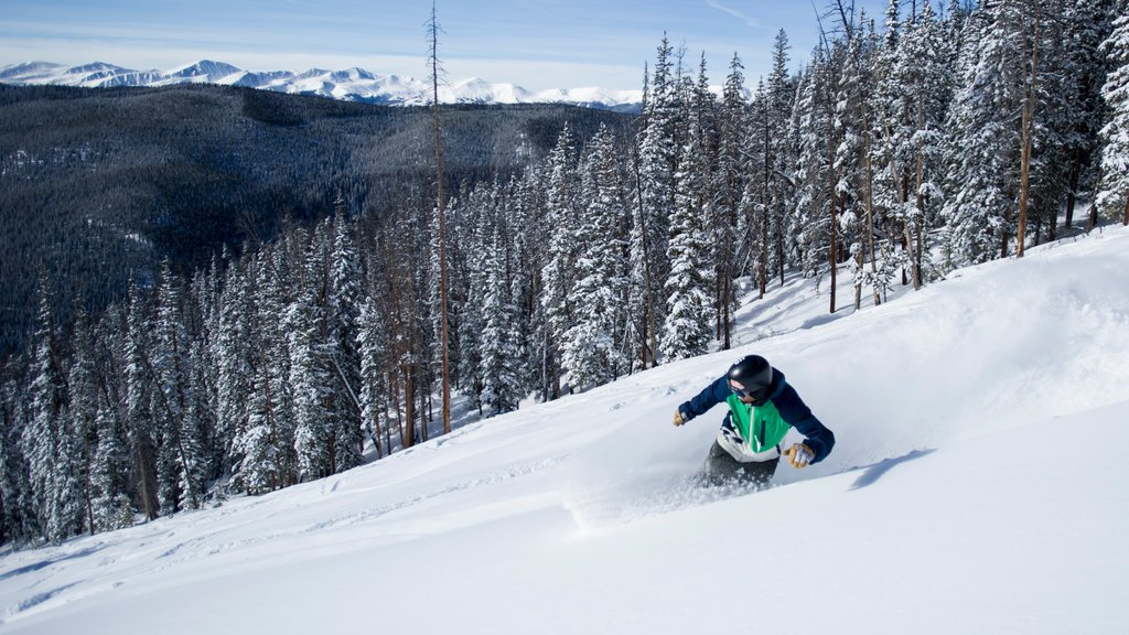 Keystone Ski Resort showing snow, landscape views and forests