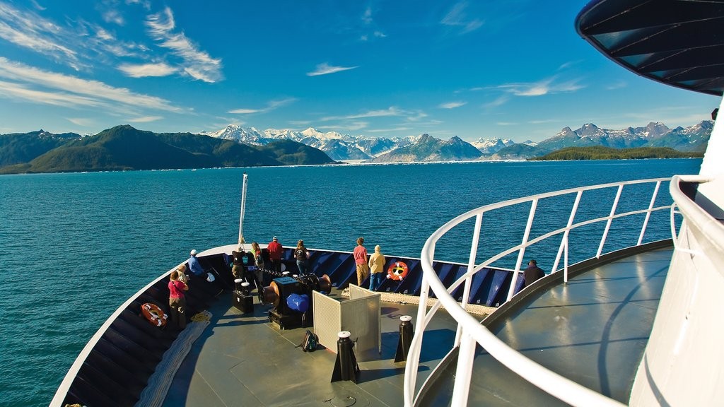 South Central Alaska featuring forests, a ferry and mountains