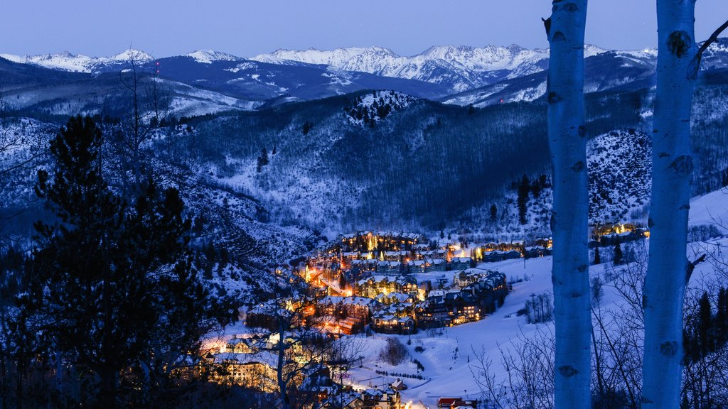 Beaver Creek featuring a small town or village, landscape views and snow